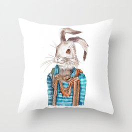 Hare hipster (male) Throw Pillow