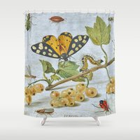insects Shower Curtains featuring Insects Crawling by BravuraMedia