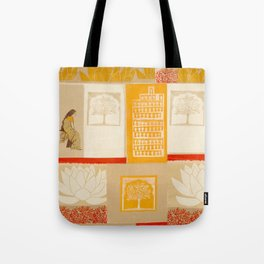 indian lady sitting print Tote Bag