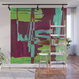 Raspberry Jam - Textured, abstract, raspberry, cyan and green painting Wall Mural