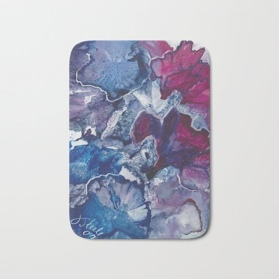 Blue and Red Abstract encaustic flowers Bath Mat