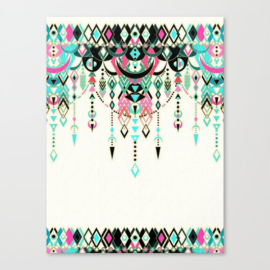 Modern Deco in Pink and Turquoise Canvas Print