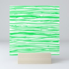 Apple Green and White Stripes Abstract Mini Art Print
