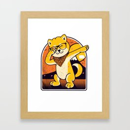 Japanese Akita dog with dab pose Framed Art Print