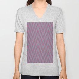 Modern pink blue geometric chevron pattern Unisex V-Neck