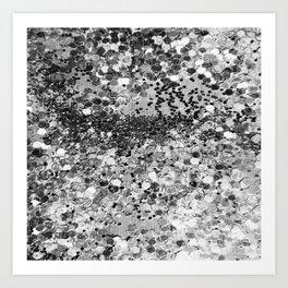 Sparkly Silver Glitter Confetti Art Print