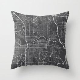 Calgary Map, Canada- Gray Throw Pillow
