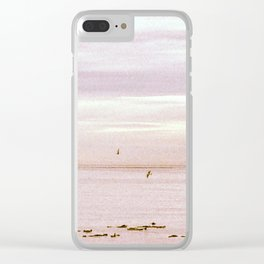 Pink Evening Sky by the Sea Clear iPhone Case