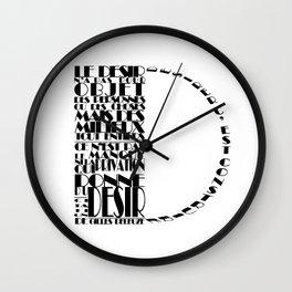 Desir - Gilles DELEUZE (black) Wall Clock
