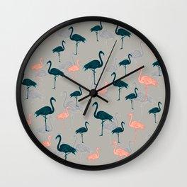Tropical Gathering Flamingo Design Wall Clock