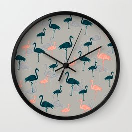 Tropical Gathering Flamingo Design Wall Clock