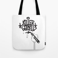 writer Tote Bags featuring Writer by The Killer Gerbil