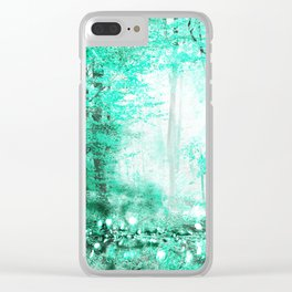 279 3 Turquoise Forest Clear iPhone Case