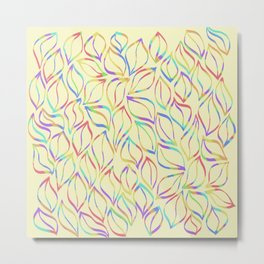 Rainbow Petals on Yellow Metal Print