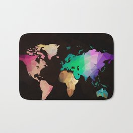 World map background in polygonal style. Modern elements world map Bath Mat