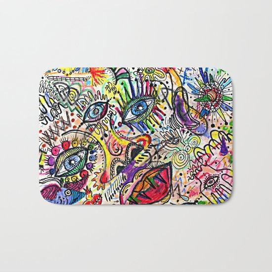 Watercolor pencil doodle Bath Mat