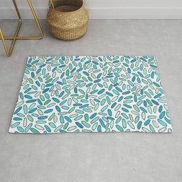 Blue, Aqua, Green and Silver Confetti Pattern Rug