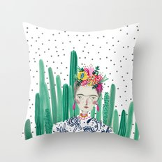Frida Kahlo. Art, print, illustration, flowers, floral, character, design, famous, people, Throw Pillow