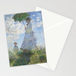 Vintage Woman with a Parasol, Madame Monet and Her Son (1875) by Claude Monet. Stationery Cards