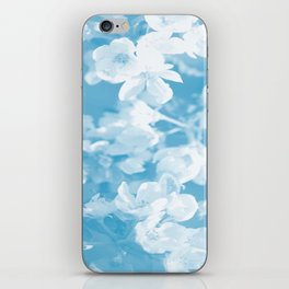 Spring Atmosphere White Flowers Sky Blue Background #decor #society6 #homedecor iPhone Skin