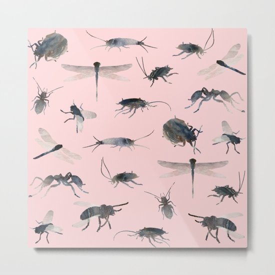 Insects on Pink Metal Print