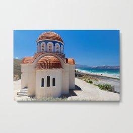 Greek Orthodox Church By The Sea Metal Print