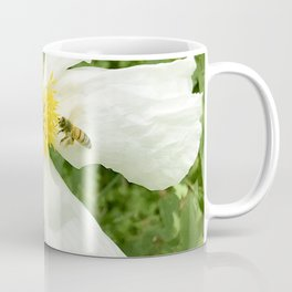 White Wild Rose With Bee Coffee Mug