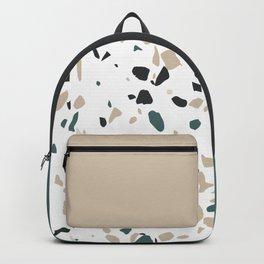 Terrazzo White Green Khaki Black Backpack