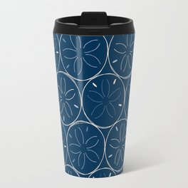 Sanddollar Pattern in Blue Travel Mug