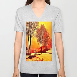 Winter Trees by the Lake Unisex V-Neck