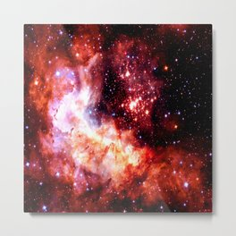 Celestial Fireworks Red Orange Metal Print