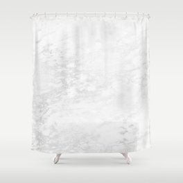 White Marble Silver Glitter Gray Shower Curtain