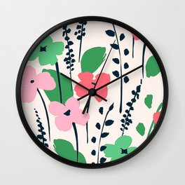 Contemporary Chic Pink Flower Pattern With Trendy Leaves Wall Clock