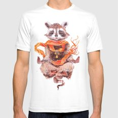 Raccoon buddha w Mens Fitted Tee MEDIUM White