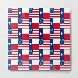 Mix of flag: Usa and Texas Metal Print
