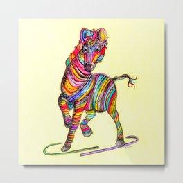 Multi-colored Zebra Metal Print