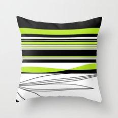 Green White Black Lines Throw Pillow
