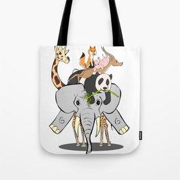 Animal Pile-Up Tote Bag