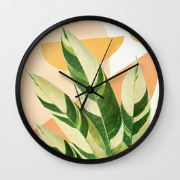 Summer Banana Leaves Wall Clock