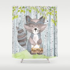 The adorable Racoon- Woodland Friends- Watercolor Illustration Shower Curtain