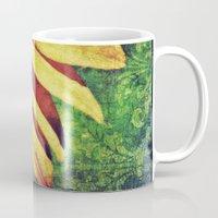 fleur de lis Mugs featuring Sunflower Fleur De Lis by minx267