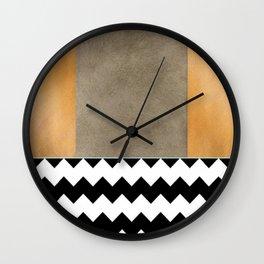 Shiny Copper Coffee Glaze And Black And White Chevron Pattern Wall Clock