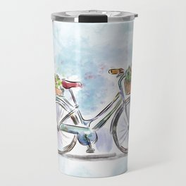 Spring Bicycle Watercolor with Flowers Travel Mug