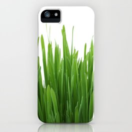 Long vertical green plants with white background iPhone Case