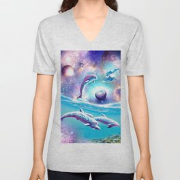 Galaxy Dolphin - Dolphins In Space Unisex V-Neck