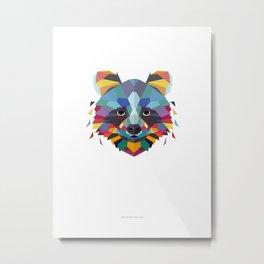 Racoon Color Geometric Metal Print