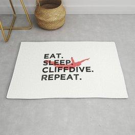 Eat. Sleep. Cliffdive. Repeat. T Shirt Cliff Diving TShirt Cliff Jumping Shirt Eat Sleep Repeat Rug