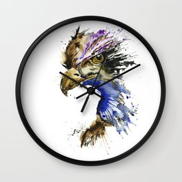 Golden Eagle - Colorful Watercolor Painting Wall Clock