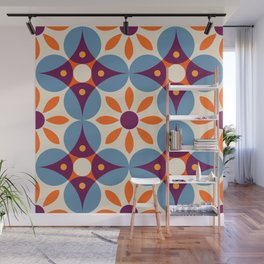 Cement tiles, gemoetric textures, patterns, southern Italy style Wall Mural
