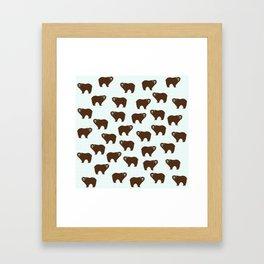 Brown Bear on Blue Background Framed Art Print